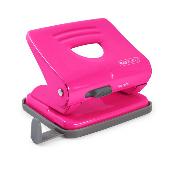 Hole Punches Rapesco 825 2-Hole Metal Punch (25 Sheets) Hot Pink