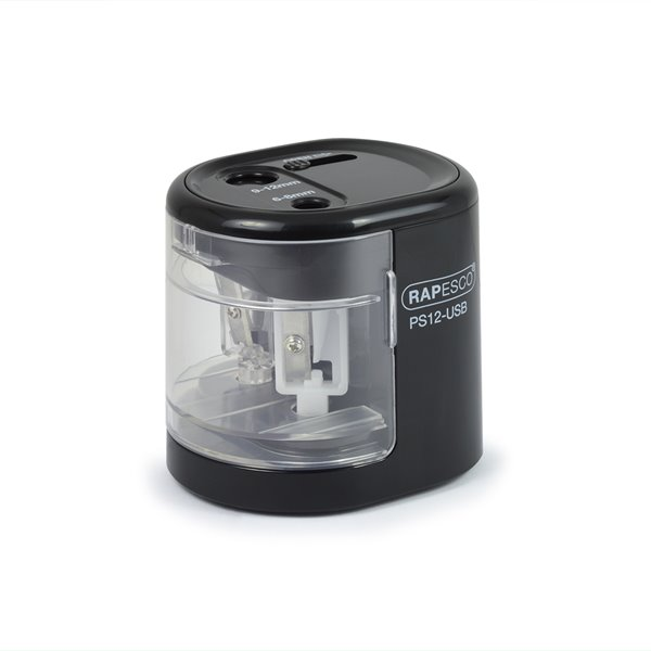 Rapesco PS12-USB Automatic USB/Battery Pencil Sharpener BK