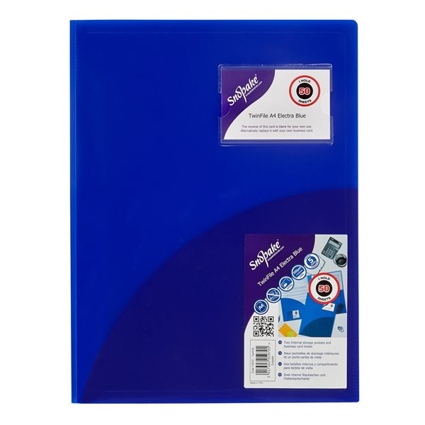 Snopake Twinfile A4 Electric Blue PK5