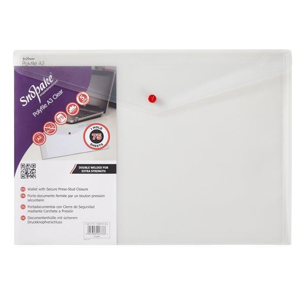 Popper Wallets Snopake Polyfile Wallet File A3 Clear PK5