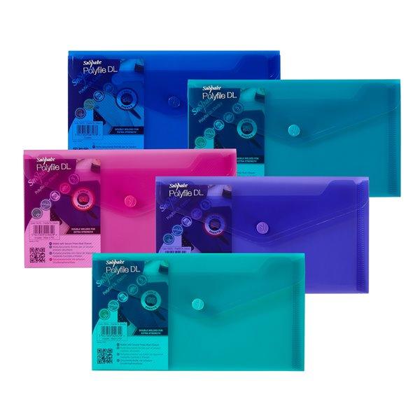 Popper Wallets Snopake Polyfile Wallet File DL Electra Astd PK5
