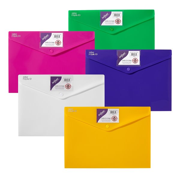 Popper Wallets Snopake Polyfile ID Wallet File A4 Bright Astd PK5