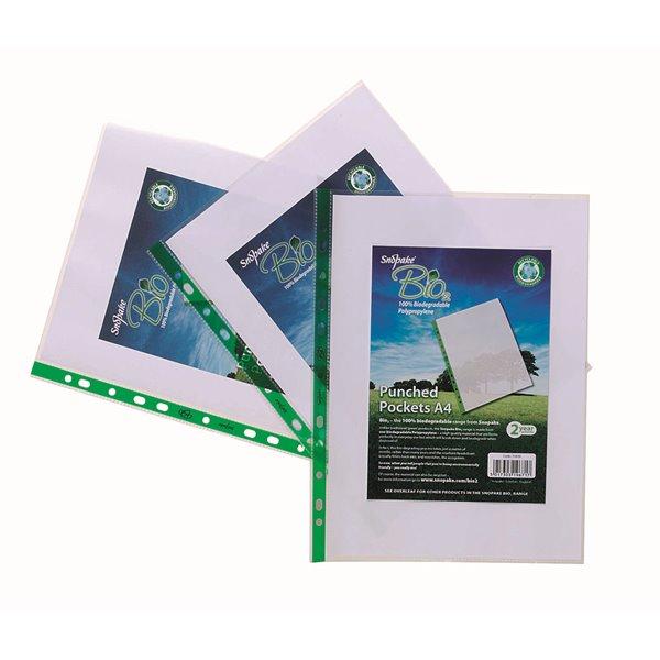 Plastic Pockets Snopake Bio Punched Pockets A4 Clear  PK25
