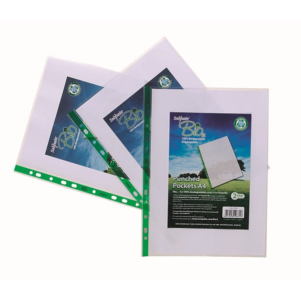 Plastic Pockets Snopake Bio Punched Pockets A4 Clear PK100
