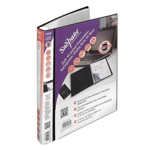Display Books Snopake ReOrganiser Display Book A4 40 pocket Black