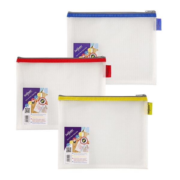Zip Bags Snopake EVA Mesh Zippa Bag A5 Assorted Pack 3