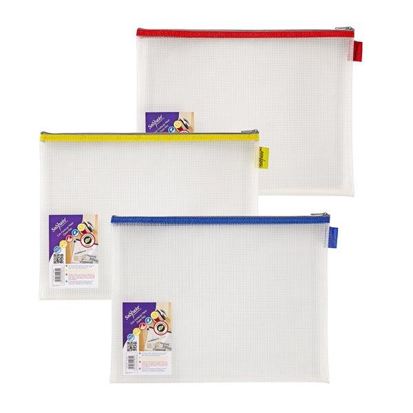 Zip Bags Snopake EVA Mesh Zippa Bag Foolscap Assorted Pack 3