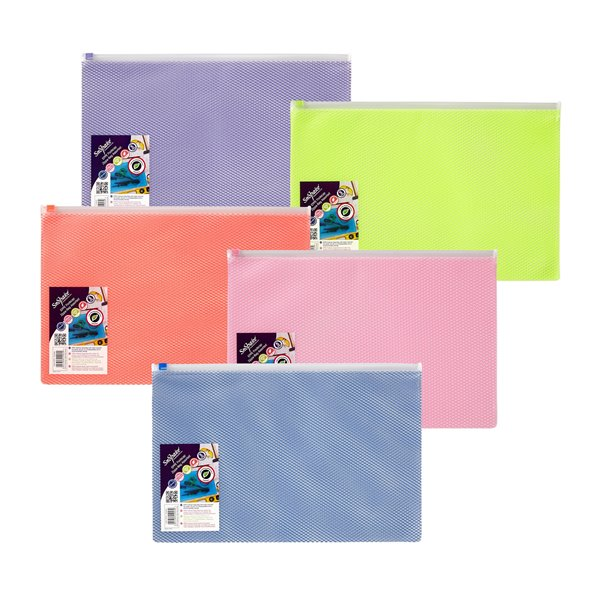 Snopake EPPE Zippa Bag Foolscap Assorted Pack 5
