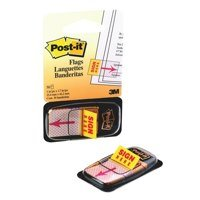 Indexes Post-it Index Flags 25mm Sign Here 50 Tabs Red 680-9