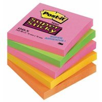 Super Sticky Post-it Super Sticky 76x76mm Neon Rainbow 654-NS (PK5)