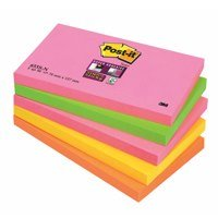 Super Sticky Post-it Super Sticky 76x127mm Neon Rainbow 655-NS (PK5)