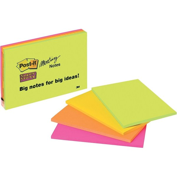 Super Sticky Post-it Super Sticky 200x149mm Neon 6845-SSP (PK4)