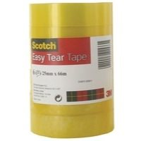 Clear Tape Scotch Easy Tear Clear Tape Roll 25mmx66m PK6