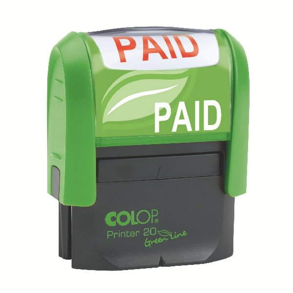 Stamps Colop Word Stamp Green Line Paid