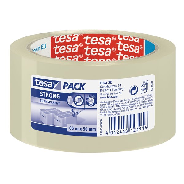 Packing Tape tesa Strong PP Packaging Tape 50mmx66m Transparent 57167 PK6