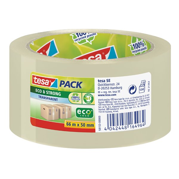 Packing Tape tesa EcoLogo PP Tape 50mmx66m Transparent 58153 PK6
