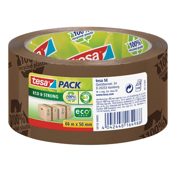 Packing Tape tesa EcoLogo Printed PP Tape 50mmx66m Brown 58155 PK6