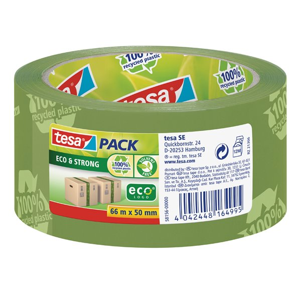 Packing Tape tesa EcoLogo Printed PP Tape 50mmx66m Green 58156 PK6