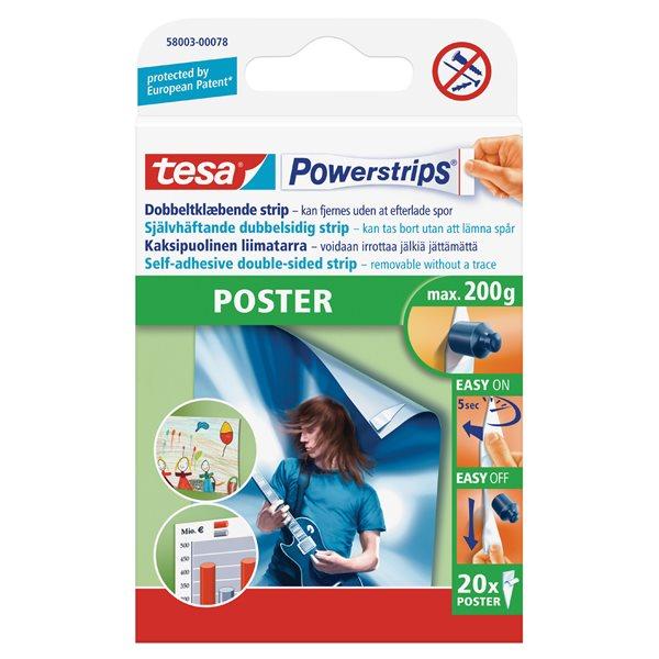 Hanging Hooks & Strips tesa Powerstrips Poster Strips (PK20)