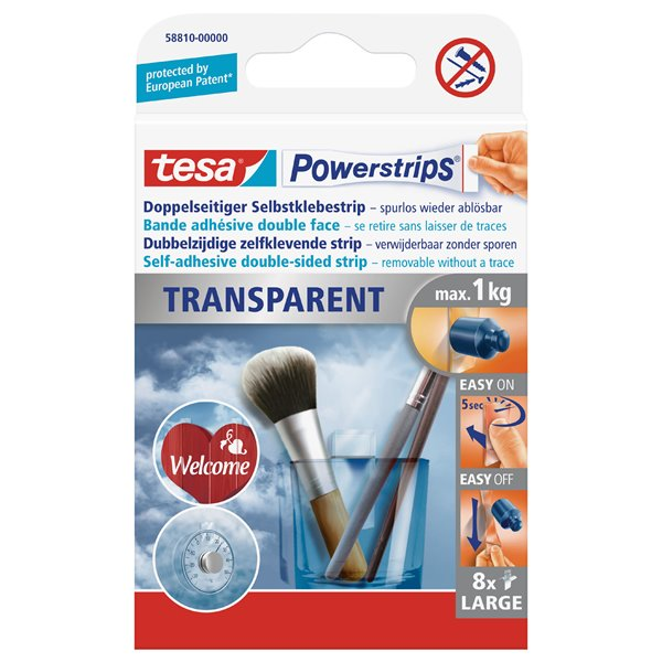 tesa Powerstrips Transparent Large 58810 PK8