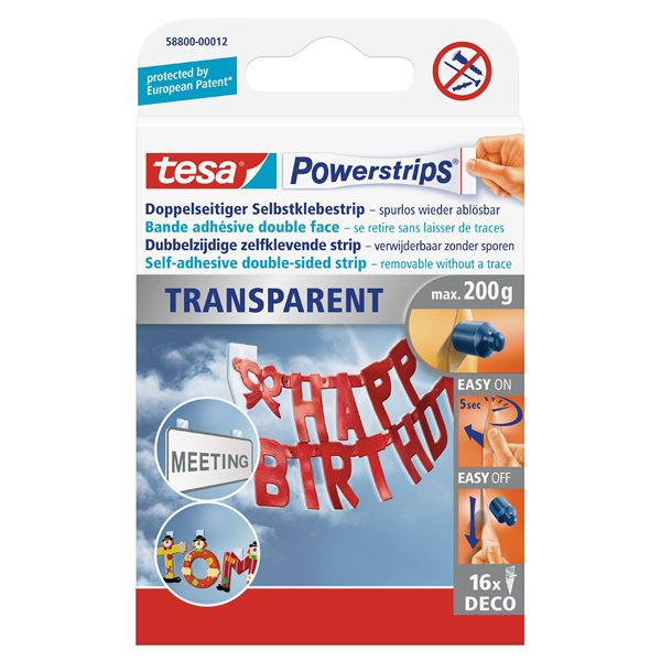tesa Powerstrips Transparent Deco 58800 PK16