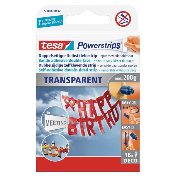 Hanging Hooks & Strips tesa Powerstrips Transparent Deco 58800 PK16