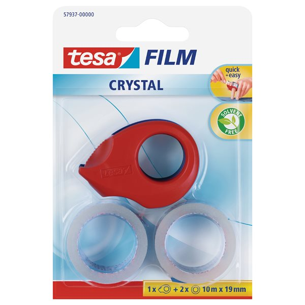 Glue Sticks tesafilm Mini Crystal Dispenser w/2 rolls 19mmx10M Red