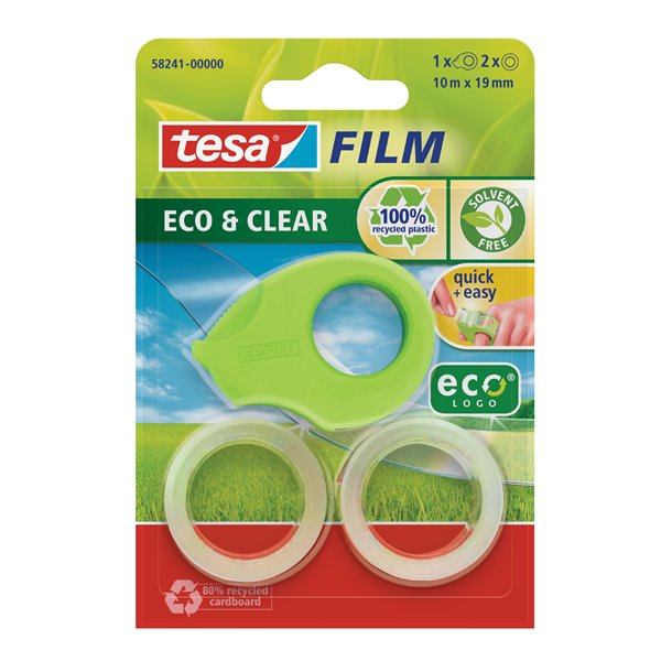 Packing Tape tesafilm Mini Eco & Clear Dispenser w/2 rolls 19mmx10M Green