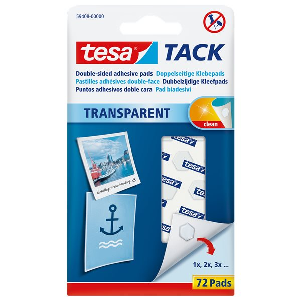 Tack tesa Transparent Tack Double sided adhesive pads 72 pads