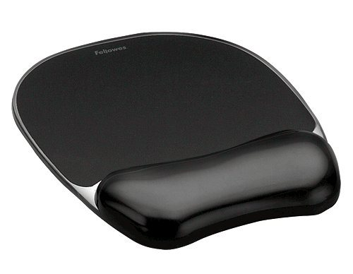 Mouse Mats Fellowes Crystal Mouse Pad and Wrist Rest Black 9112101