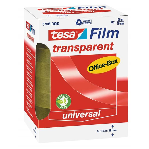 Clear Tape tesa Transparent Adhesive Film 19mmx66M PK8