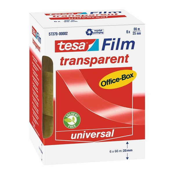 Clear Tape tesafilm Transparent Tape 25mm x 66m Officebox - 6 rolls PK1