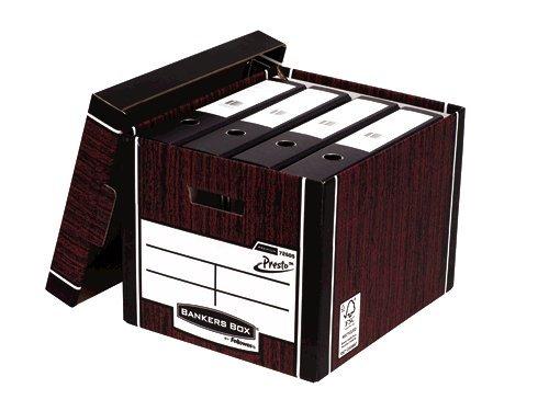 Storage Boxes Fellowes Premium Presto Tall Box Woodgrain PK10