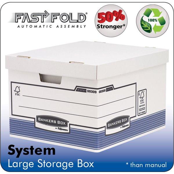 Storage Boxes Fellowes System Large Storage Box Grey PK10