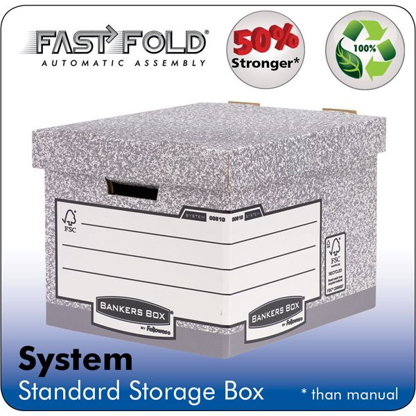 Storage Boxes Fellowes System Standard Box Grey PK10