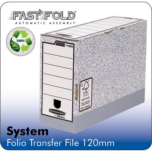 Storage Boxes Fellowes System 120mm Folio Trans File Grey PK10
