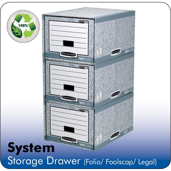 Storage Boxes Fellowes Bankers Box System A4 Storage Drawer Grey PK5