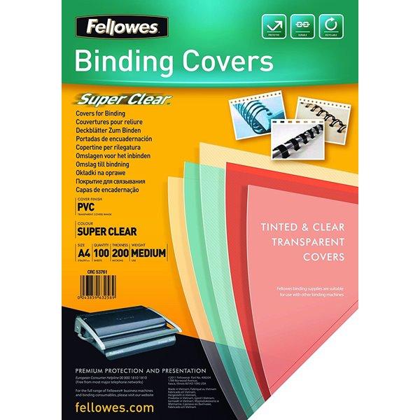 FELLOWES FSC A4 LINEN COVER WHITE PK100
