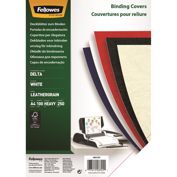 Fellowes Delta Cover A4 White 5370104 (PK100)