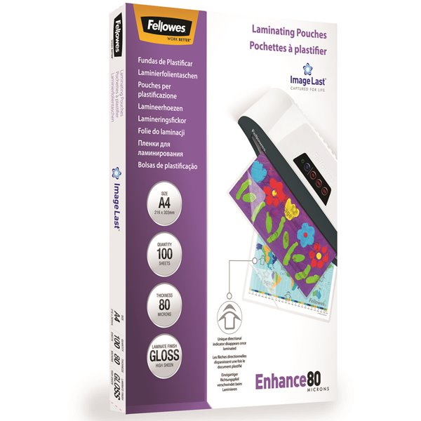 Laminating Film & Pockets Fellowes Laminating Pouch A4 2x80 micron 5306114 (PK100)