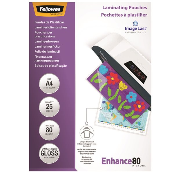 Fellowes Laminating Pouch A4 2x80 micron 5396205 (PK25)