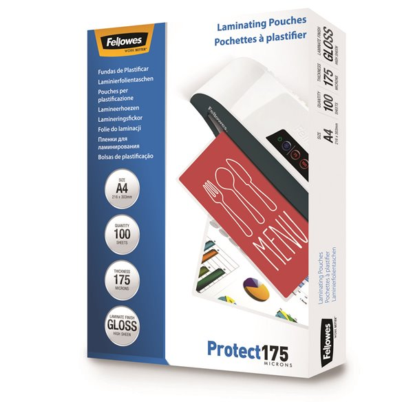 Fellowes Laminating Pouch A4 2x175 micron 5308703 (PK100)