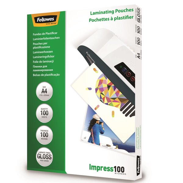Fellowes Laminating Pouch A4 2x100 micron 5351111 (PK100)