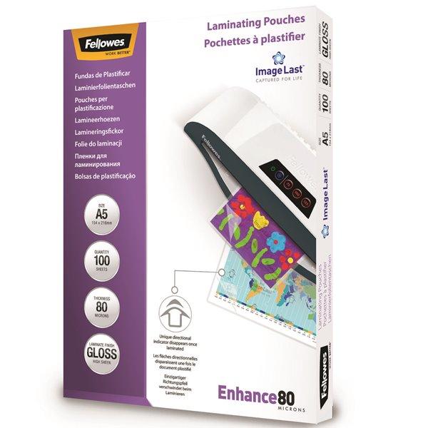 Laminating Film & Pockets Fellowes Laminating Pouch A5 2x80 micron 5306002 (PK100)