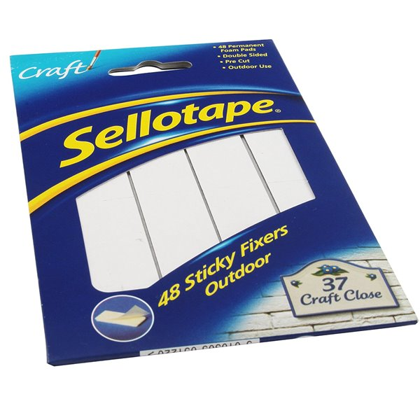 Fixers / Dots / Strips Sellotape Sticky Fixer Outdoor 20x20mm PK48