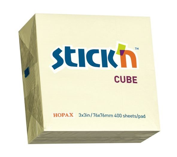 Value Stickn Sticky Notes Cube 76x76mm Pastel Yellow 21072