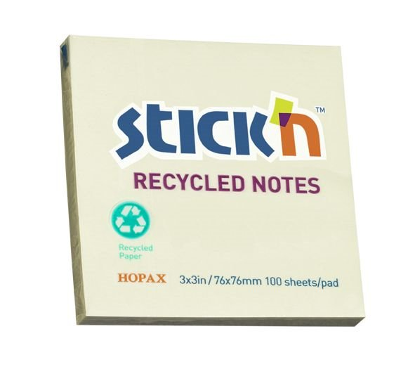 Value Stickn Recycled Notes 76x76mm Pastel Yellow PK12