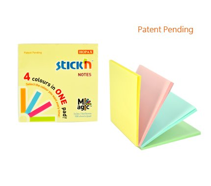 Coloured Stickn Magic Pad 76x76mm 4 Pastel Colours 100 sh/pad PK12