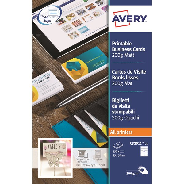 Business Cards Avery Business Cards Single Sided Matt C32011-25 (250 Cards)