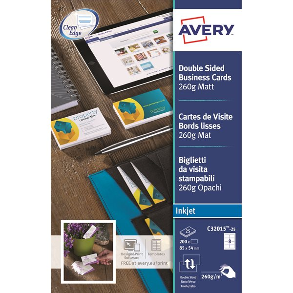 Business Cards Avery Business Cards Double Sided Matt C32015-25 (200 Cards)